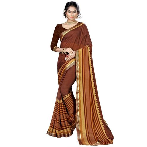 Opulent Brown Colored Casual Printed Chiffon Saree