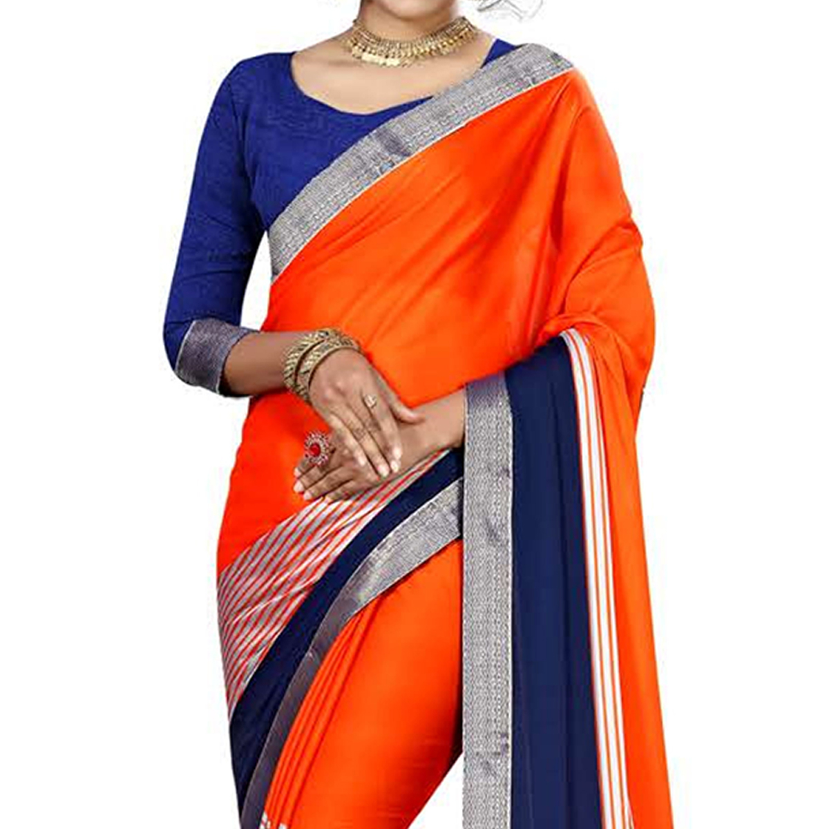 Alluring Orange Colored Casual Printed Chiffon Saree