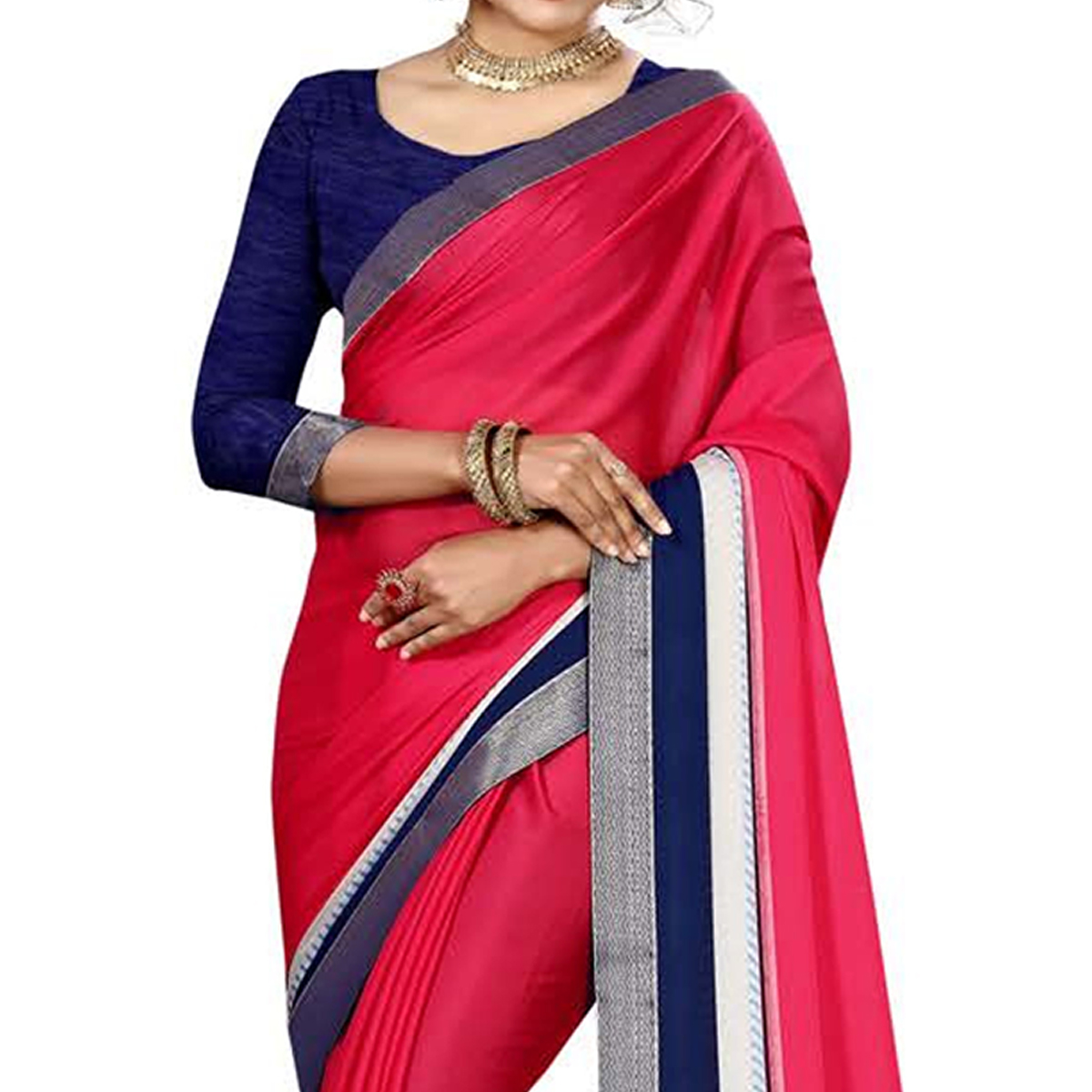 Eye-Catching Pink Colored Casual Printed Chiffon Saree