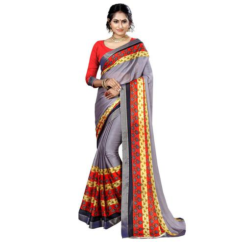 Elegant Light Gray Colored Casual Printed Chiffon Saree