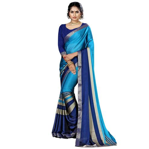 Surpassing Blue Colored Casual Printed Chiffon Saree