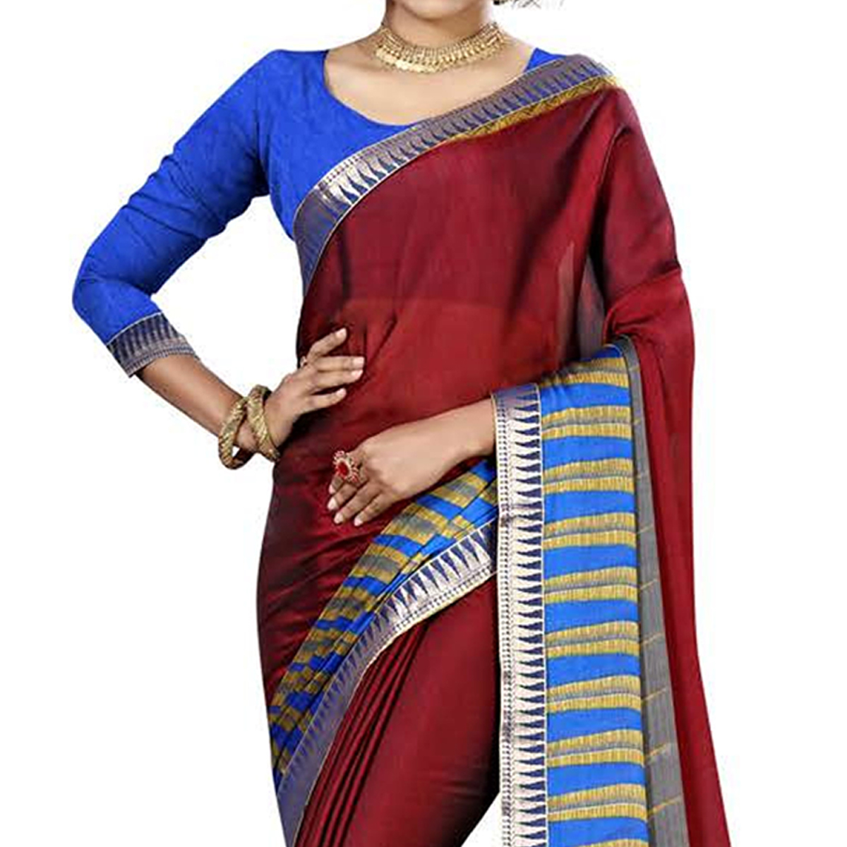 Traditional Maroon Colored Casual Printed Chiffon Saree