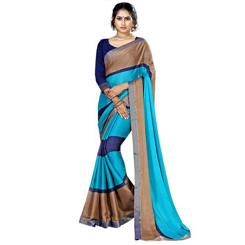 Arresting Blue-Brown Colored Casual Printed Chiffon Saree