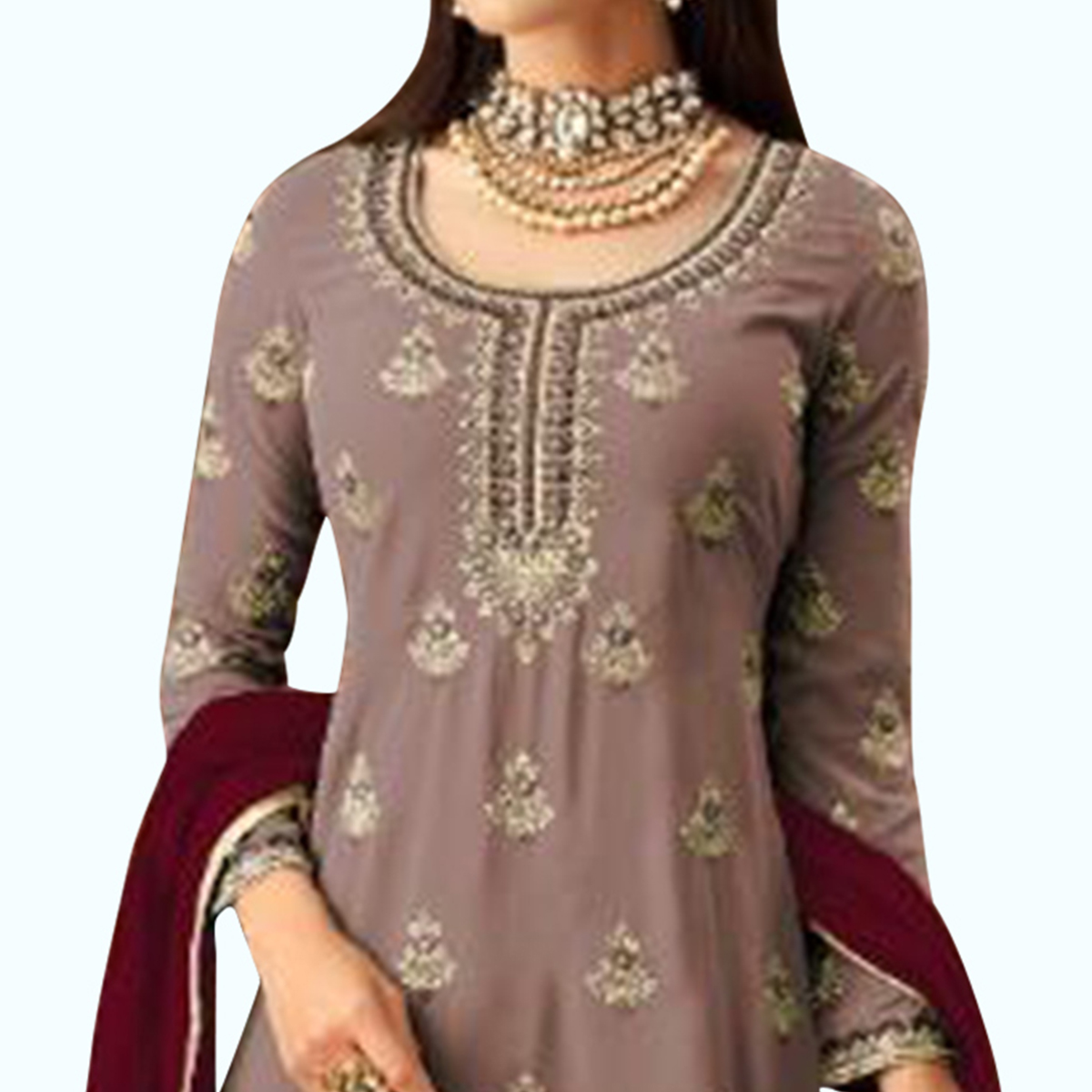 Marvellous Mauve Colored Partywear Embroidered Faux Georgette Palazzo Suit
