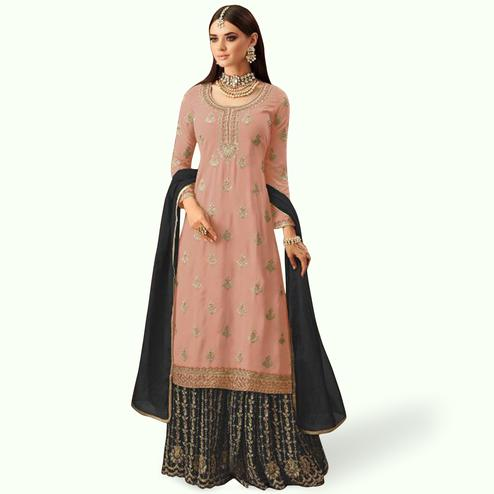 Fantastic Peach Colored Partywear Embroidered Faux Georgette Palazzo Suit