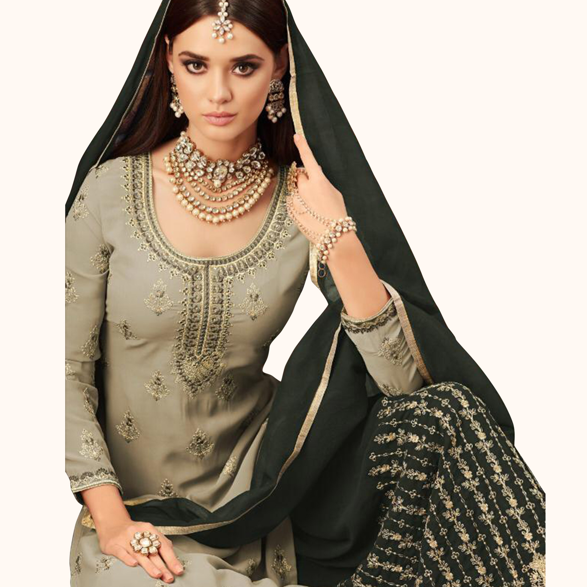 Impressive Light Gray Colored Partywear Embroidered Faux Georgette Palazzo Suit