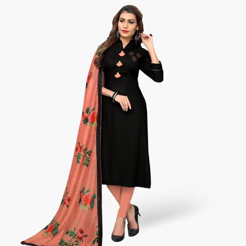 Gorgeous Black Colored Casual Wear Rayon Kurti With Dupatta