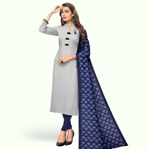 Graceful Light Gray Colored Casual Wear Rayon Kurti With Dupatta
