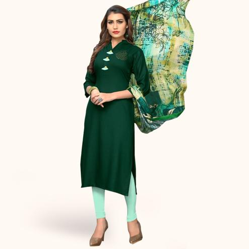 Ideal Green Colored Casual Wear Rayon Kurti With Dupatta