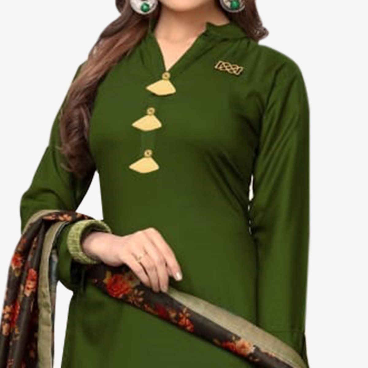 Imposing Dark Olive Green Colored Casual Wear Rayon Kurti With Dupatta
