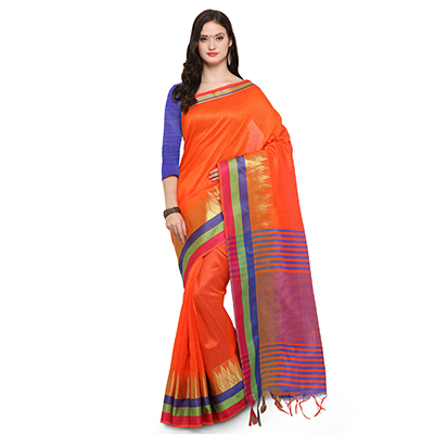 Orange Festive Wear Woven Ghicha Silk Saree