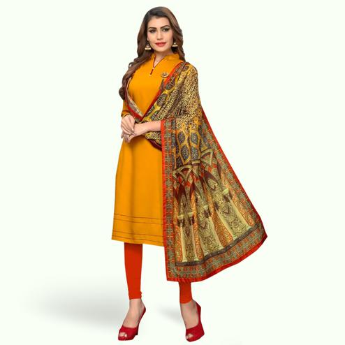 Lovely Light Orange Colored Casual Wear Rayon Kurti With Dupatta