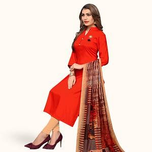 Majesty Red Colored Casual Wear Rayon Kurti With Dupatta