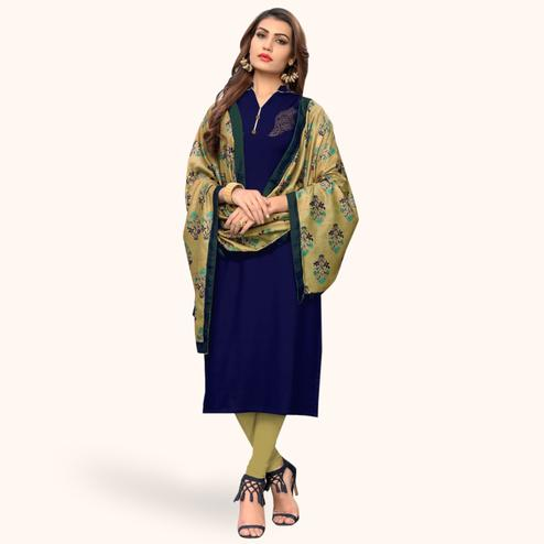 Marvellous Navy Blue Colored Casual Wear Rayon Kurti With Dupatta