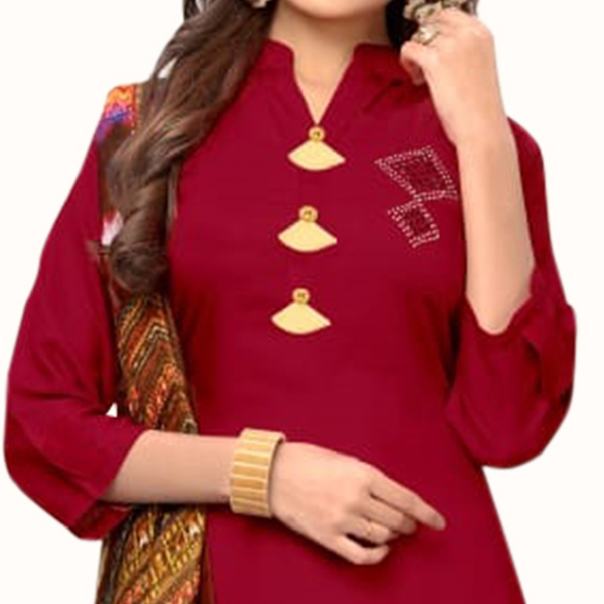 Mesmerising Dark Red Colored Casual Wear Rayon Kurti With Dupatta