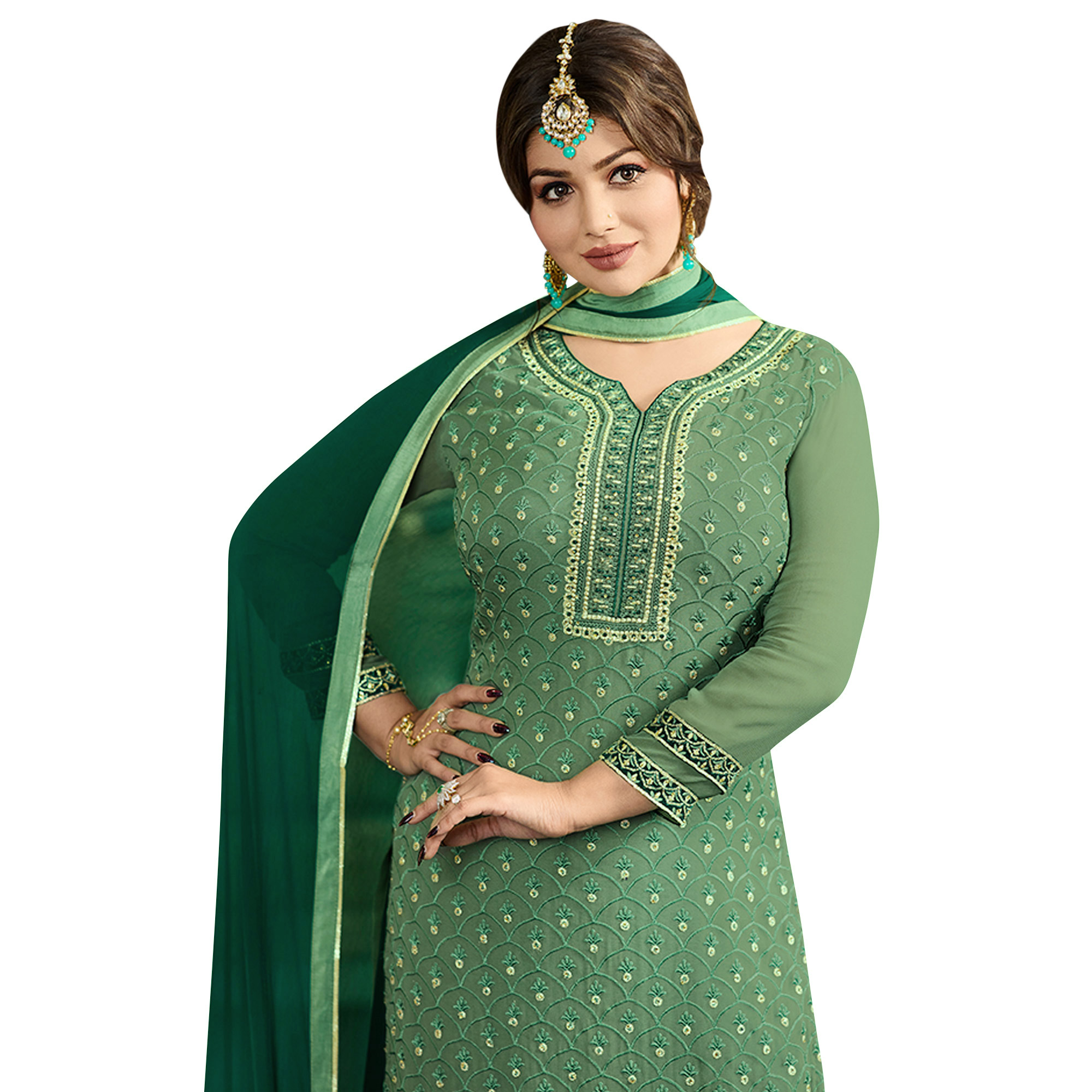 Excellent Dark Sea Green Colored Party Wear Embroidered Georgette Palazzo Suit