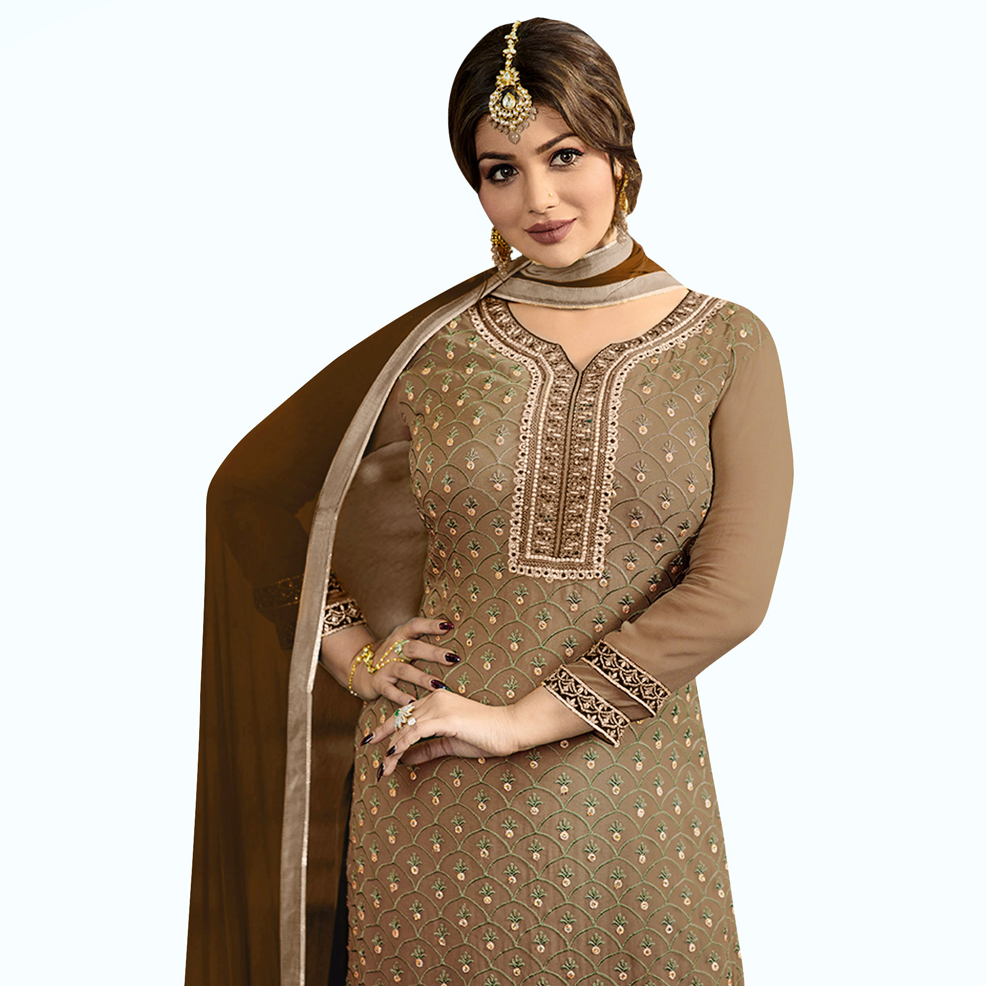 Breathtaking Brown Colored Party Wear Embroidered Georgette Palazzo Suit