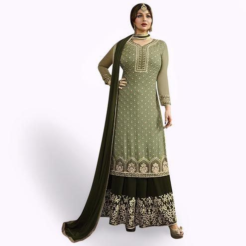 Impressive Dusty Green Colored Party Wear Embroidered Georgette Palazzo Suit