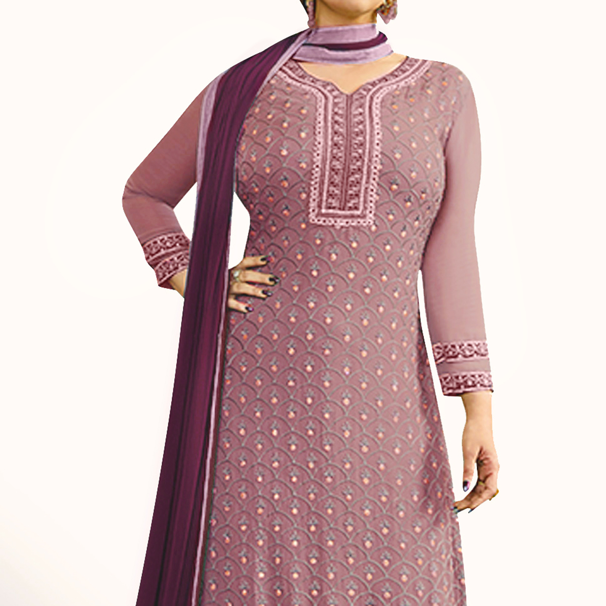 Flamboyant Mauve Colored Party Wear Embroidered Georgette Palazzo Suit