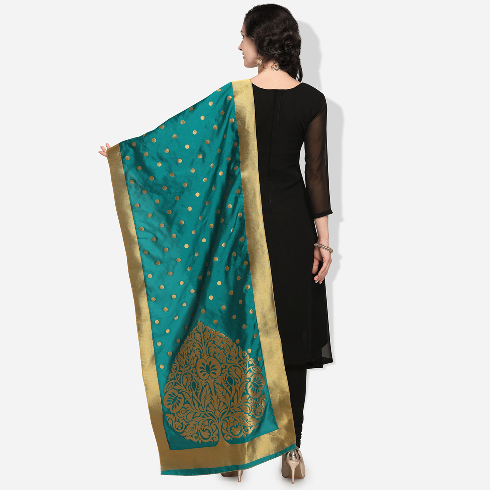 Refreshing Teal Blue Colored Festive Wear Jacquard Banarasi Silk Dupatta