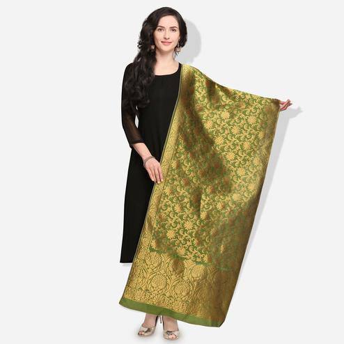 Hypnotic Olive Green Colored Festive Wear Jacquard Banarasi Silk Dupatta