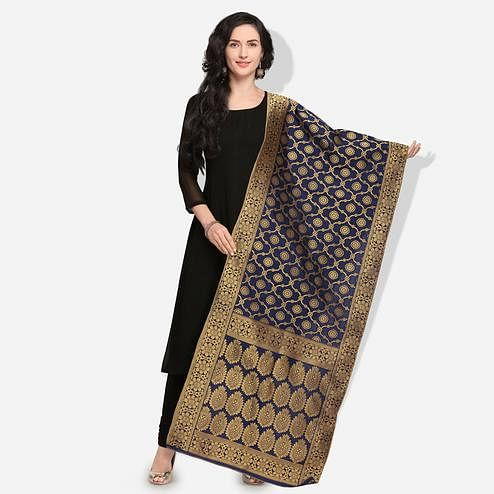 Elegant Navy Blue Colored Festive Wear Jacquard Banarasi Silk Dupatta