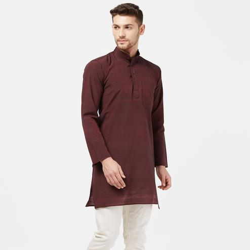 Beautiful Brown Colored Festive Wear Cotton Kurta