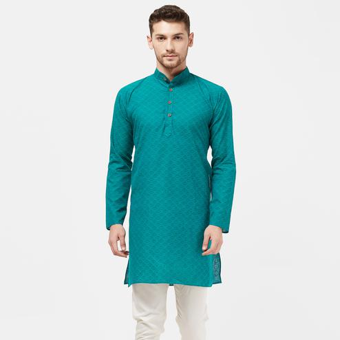 Lovely Turquoise Green Colored Festive Wear Cotton Kurta