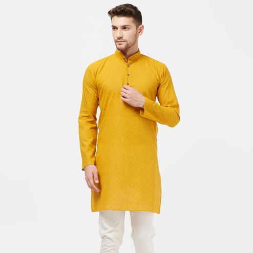 Demanding Yellow Colored Festive Wear Cotton Kurta