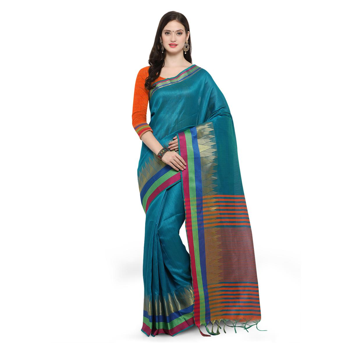 Teal Green Festive Wear Woven Ghicha Silk Saree