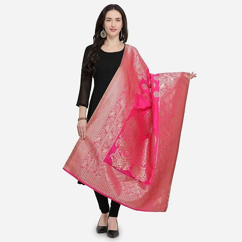 Intricate Dark Pink Colored Festive Wear Jacquard Banarasi Silk Dupatta