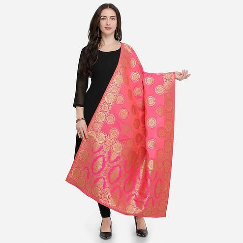 Arresting Pink Colored Festive Wear Jacquard Banarasi Silk Dupatta