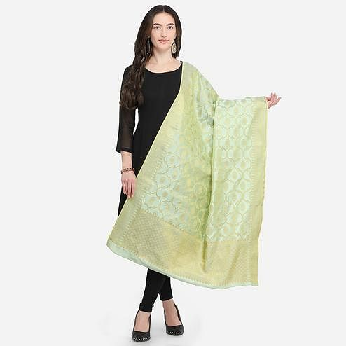 Trendy Pista Green Colored Festive Wear Jacquard Banarasi Silk Dupatta