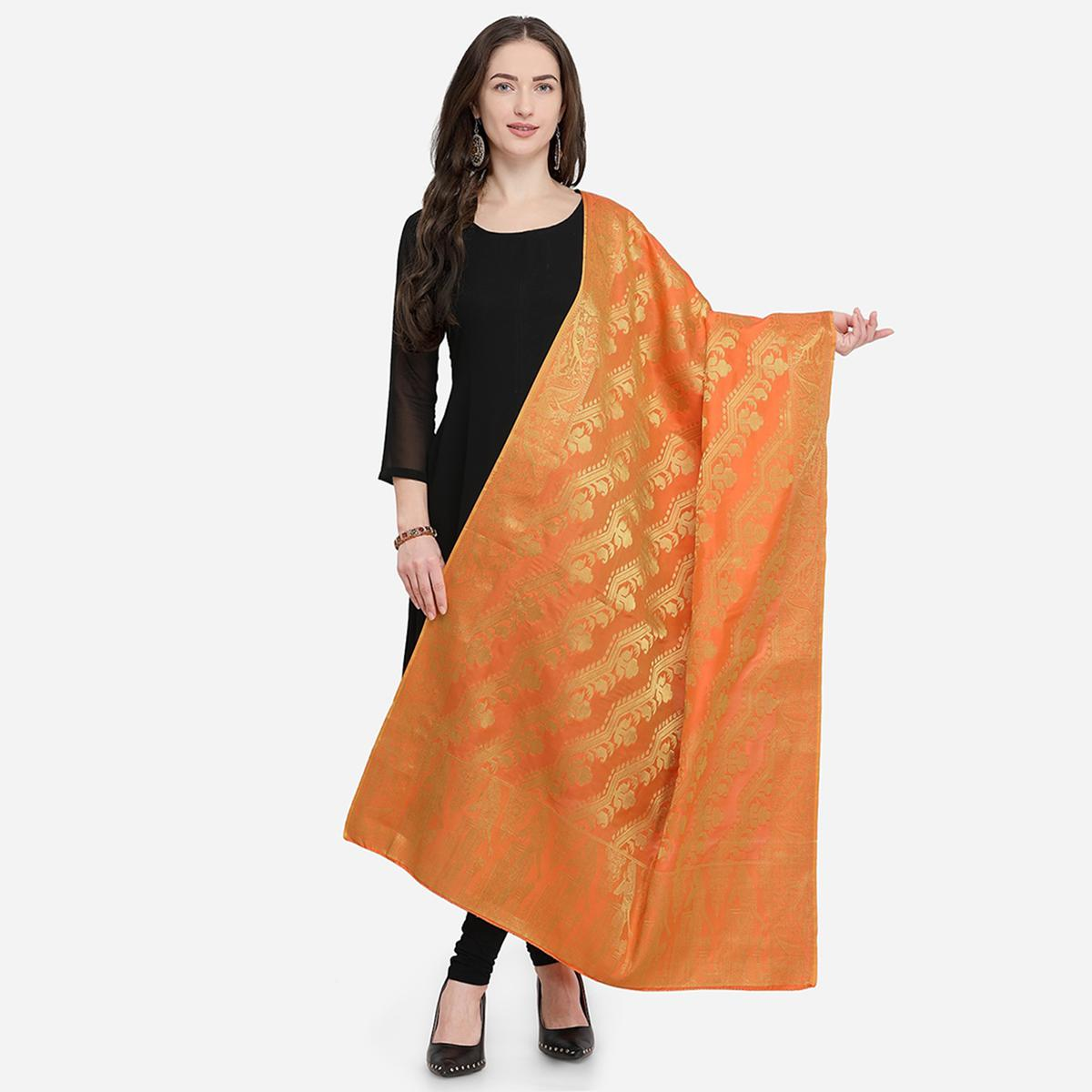 Flattering Orange Colored Festive Wear Jacquard Banarasi Silk Dupatta
