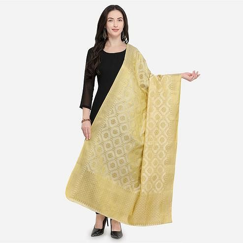 Radiant Golden Colored Festive Wear Jacquard Banarasi Silk Dupatta