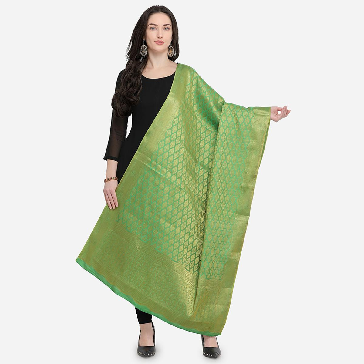 Pleasant Green Colored Festive Wear Jacquard Banarasi Silk Dupatta