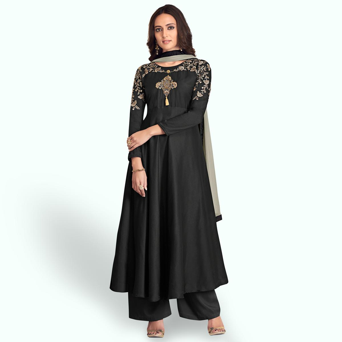 Fantastic Black Colored Partywear Embroidered Cotton Palazzo Suit
