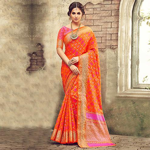 Orange Designer Festive Wear Woven Pure Pochampalli Silk Saree