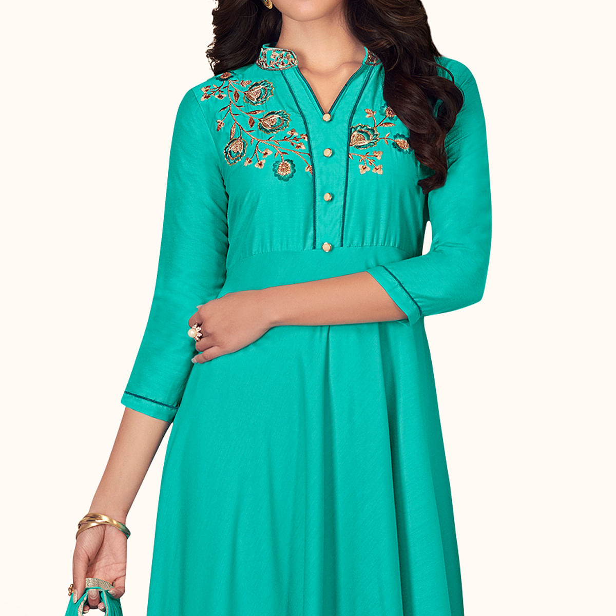 Blissful Turquoise Colored Partywear Embroidered Cotton Palazzo Suit