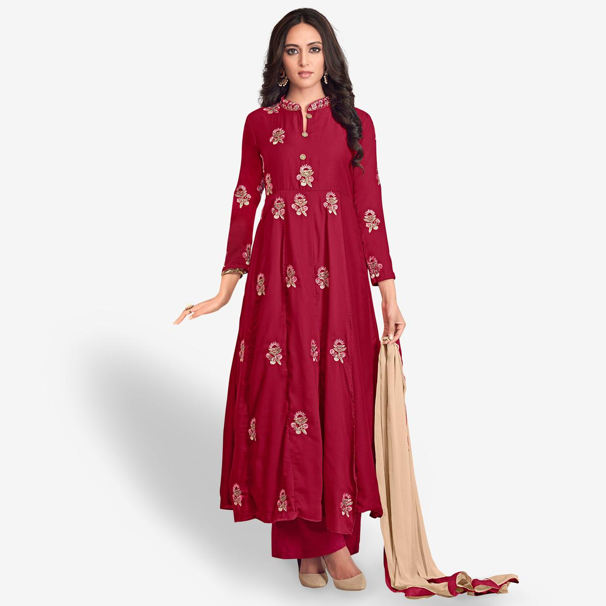 Charming Dark Red Colored Partywear Embroidered Cotton Palazzo Suit