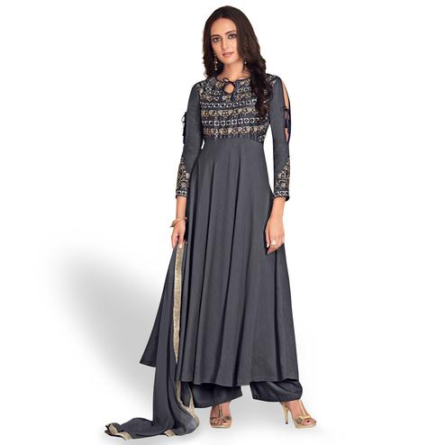Groovy Gray Colored Partywear Embroidered Cotton Palazzo Suit