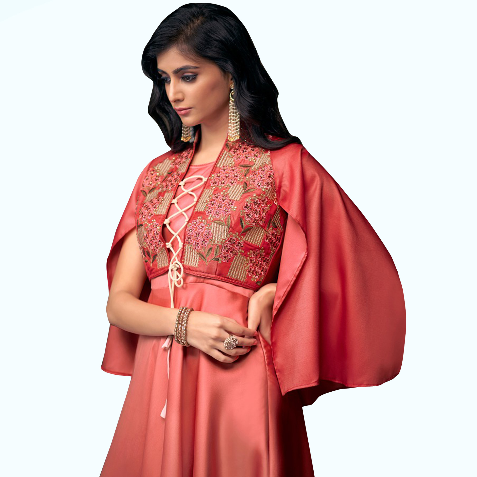 Appealing Coral Red Colored Partywear Embroidered Satin Silk Gown