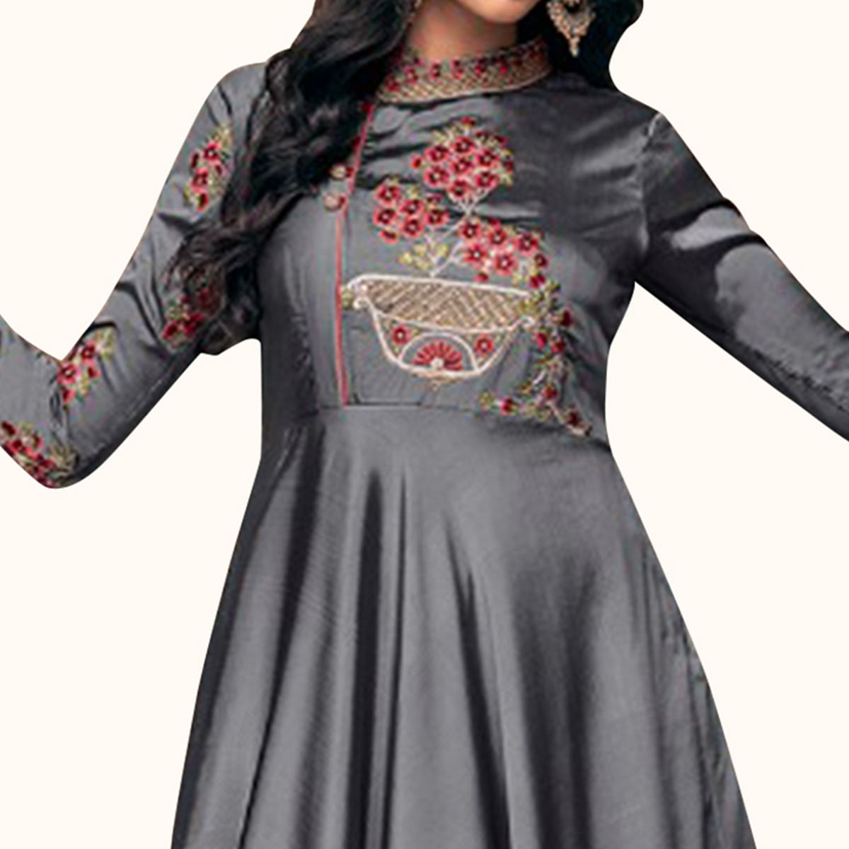 Capricious Gray Colored Partywear Embroidered Satin Silk Gown