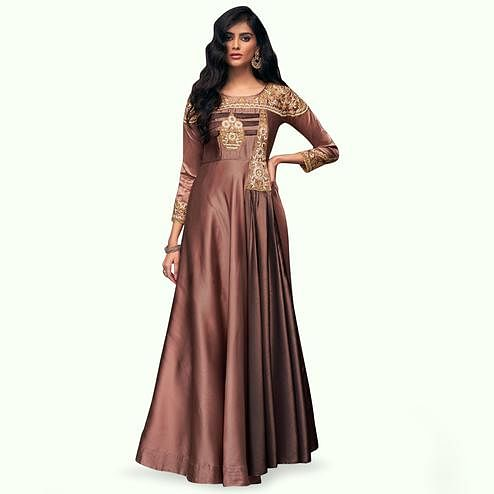 Prominent Brown Colored Partywear Embroidered Satin Silk Gown