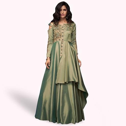 Innovative Green Colored Partywear Embroidered Silk Gown