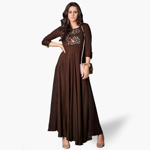 Glowing Brown Colored Party Wear Embroidered Rayon Kurti