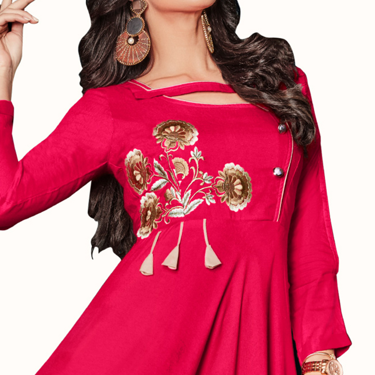 Exceptional Magenta Pink Colored Party Wear Embroidered Rayon Kurti