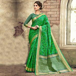 Green Designer Festive Wear Woven Pure Pochampalli Silk Saree