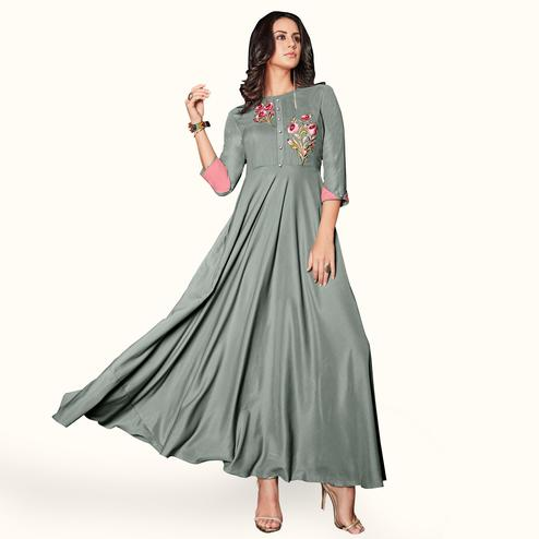 Gleaming Grey Colored Party Wear Embroidered Rayon Kurti