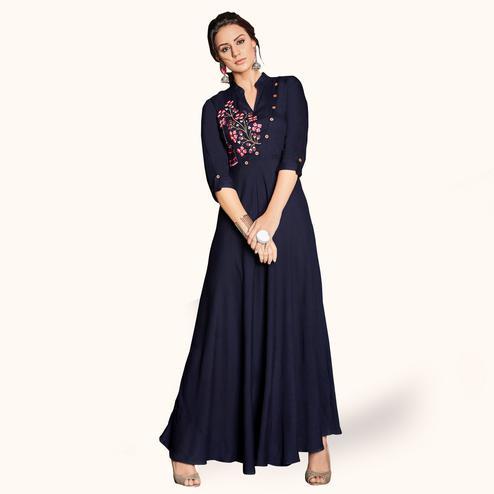 Mesmeric Navy Blue Colored Party Wear Embroidered Rayon Kurti